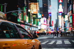 Times Square by Night. Yellow Cab in Times Square Royalty Free Stock Photos