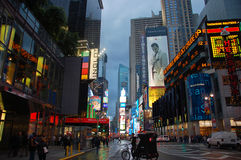 Times Square no por do sol, New York City Foto de Stock Royalty Free