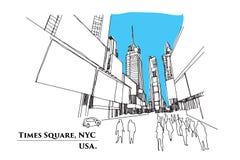 Times Square, Nueva York Calle en la perspectiva, illustrati del vector Foto de archivo
