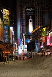 Times Square in NYC. Looking at Times Square in NYC with snow in foreground Stock Photo
