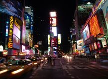 The Times Square in NYC. At Night stock photography
