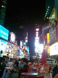 Times Square NYC. Manhattan, downtown, family stock photo