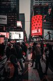 Times Square in NYC. NEW YORK, USA - Apr 30, 2016: Times Square in the evening time. Brightly adorned with billboards and advertisements, Times Square is royalty free stock photos