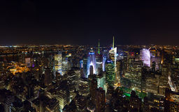 Times Square panorama aerial view at night Stock Images