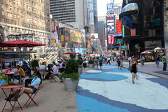Times Square Pedestrian Area. In an effort to be more friendly to pedestrians, large portions of the Times Square area have been devoted to an area for sitting stock photo