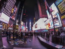 Times Square. People at Times Square lightning candles due to the death of two police men in December 2014 Stock Images