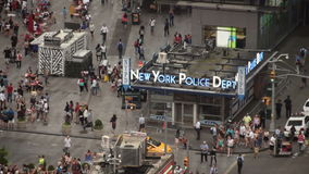 Times Square police station from above stock video footage