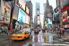 Times Square rain Royalty Free Stock Photo