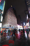 Times Square by rainy night, NYC Royalty Free Stock Photos