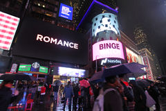 Times Square by rainy night, NYC Royalty Free Stock Photo