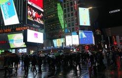 Times Square by rainy night, NYC Stock Photos