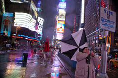Times Square during rainy weather. Stock Image