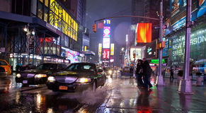 Times Square during rainy weather. Photo taken on Oct 29th,2011 royalty free stock photography