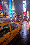 Times Square during rainy weather. Royalty Free Stock Photography