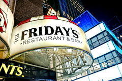 Times Square Restaurant Sign. TGI Friday's Sign within Times Square - Circa 2011 Stock Photos