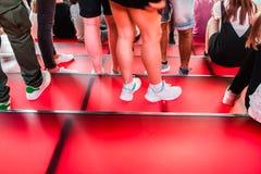 Times Square Rode Stappen, de Jeugdcultuur en Toerismeconcepten Royalty-vrije Stock Foto