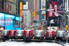 Times Square Security. Police Car Lights Close Up photo taken on Times Square, New York Stock Photography