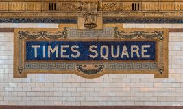 The Times Square sign on the NYC subway system. A ceramic mosaic sign on the NYC subway system at the Times Square station stock photos
