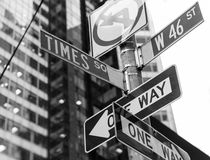 Times Square signs & W 46 st New York royalty free stock photography