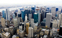 Times Square Skyline. Times Square in Midtown Manhattan Skyline from up above stock images