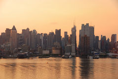 Times Square skyline, New York City. New York City Manhattan Times Square skyline with skyscrapers over Hudson River in the morning Royalty Free Stock Images