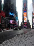 Times Square in Snow in Winter. Royalty Free Stock Photography