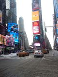 Times Square in Snow in Winter. Royalty Free Stock Photo