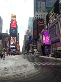 Times Square in Snow in Winter. Stock Photo