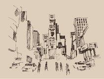 Times Square, straat in de illustratie van de de stadsgravure van New York Royalty-vrije Stock Afbeeldingen