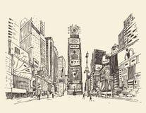Times Square, straat in de illustratie van de de stadsgravure van New York Royalty-vrije Stock Foto's