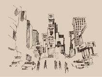 Times Square, street in New York city engraving  illustration Royalty Free Stock Images