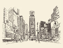 Times Square, street in New York city engraving  illustration Royalty Free Stock Photos