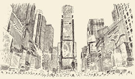 Times Square Street in New York City Engraving Royalty Free Stock Images