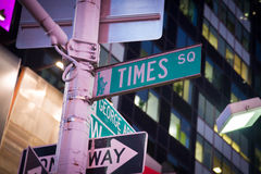 Times Square street sign. At night Stock Photo
