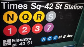 Times Square--42 Street Subway Sign Royalty Free Stock Photography