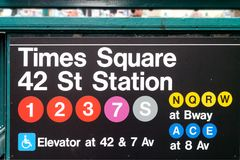 Times Square Subways or tubes Sign New York City USA. Times Square Subways tubes Sign New York City Manhattan USA Stock Photo