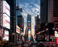 Times Square at sunset - New York, USA. NEW YORK, USA - December 07, 2016: Times Square at sunset - New York, USA Royalty Free Stock Photo