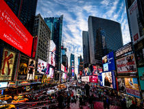 Times Square at sunset - New York, USA. NEW YORK, USA - December 07, 2016: Times Square at sunset - New York, USA Royalty Free Stock Photography