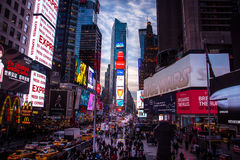 Times Square at sunset - New York, USA. NEW YORK, USA - December 07, 2016: Times Square at sunset - New York, USA Stock Photography