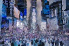 Times Square, surreale Malerei wörter Stockbild