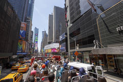 Times Square with tourists in bus Stock Images