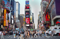 Times Square Traffic New York USA. People and vehicles in busy Times Square, New York City royalty free stock photo
