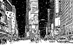 Times square under snow. Vector illustration Stock Photography