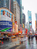 Times Square in United States. NEW YORK CITY, USA - JANUARY 3 : The Times Square, major commercial intersection and neighborhood in Midtown Manhattan on January Stock Photos