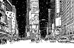 Times Square unter Schnee stock abbildung