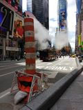 Times Square, Urban Steam System, Vent, New York City, NYC, NY, USA royalty free stock image