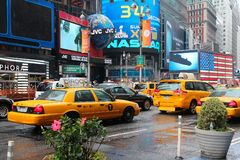 Times Square yellow cab Stock Photo