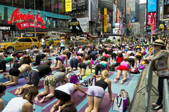 Times Square Yoga Class Royalty Free Stock Photos