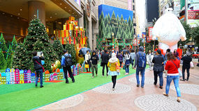 Times Squarejuldekor, Hong Kong Royaltyfri Bild