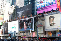Times Squares - billboards and tourist Stock Images